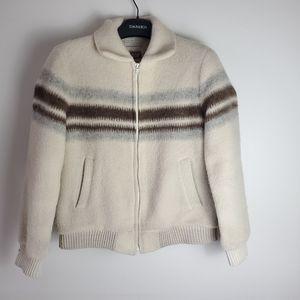 Vintage wool blend zip up striped  bomber jacket sherpa lined